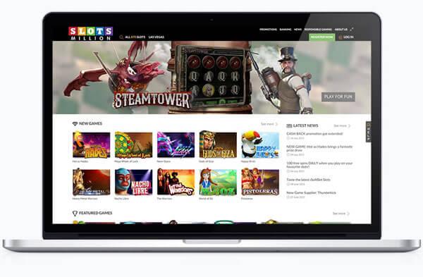 Impressionen von der Slots Million Casino Software und Webseite